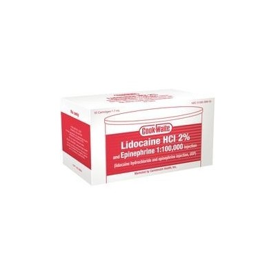 Cook-Waite Lidocaine HCL 2% and Epinephrine Cartridges, 50/Box