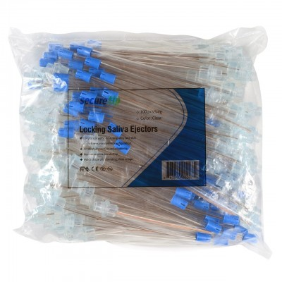 SecureTip - The Locking Saliva Ejector - Bag of 100 Clear