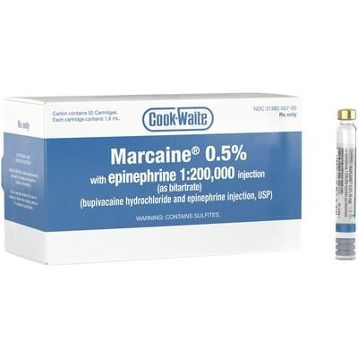 Cook-Waite Marcaine HCl 0.5% with Epinephrine 1:200,000 50/pk